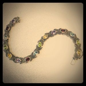 Jewelry - Muti color rhinestone bracelet, steling silver